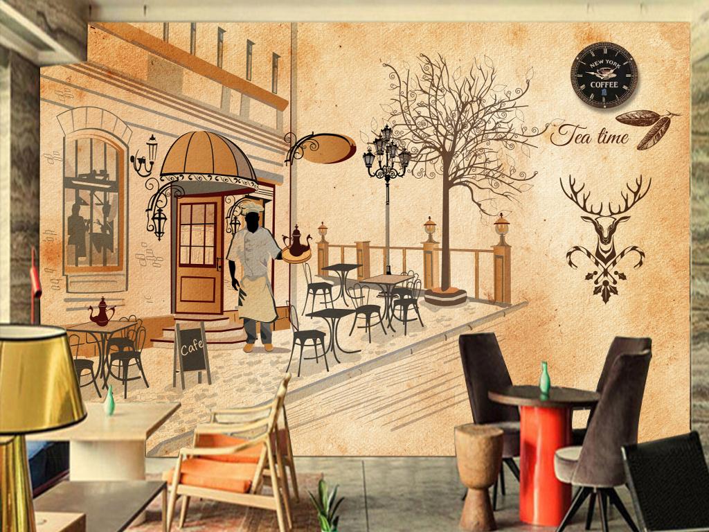 酒吧咖啡厅复古怀旧手绘餐饮主题背景墙