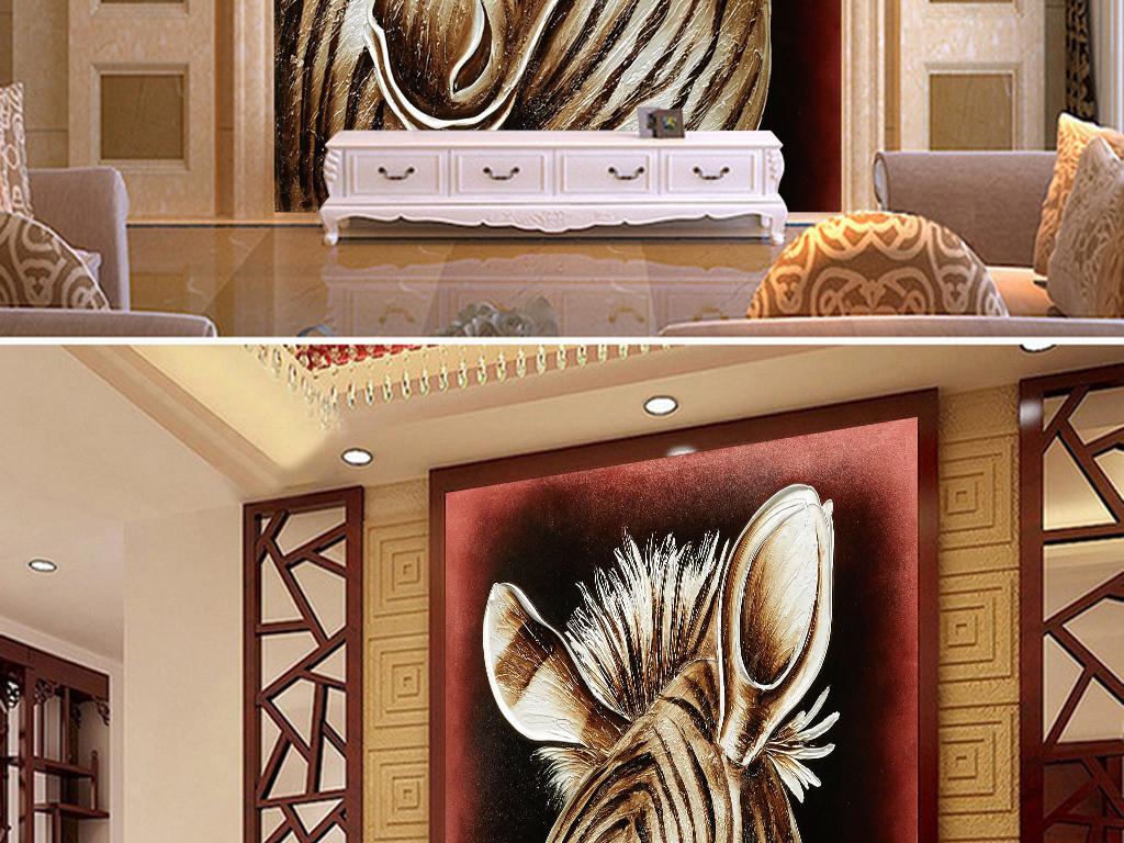拱门花卉花盆移门装修图片高清晰花瓶树叶手绘斑马大