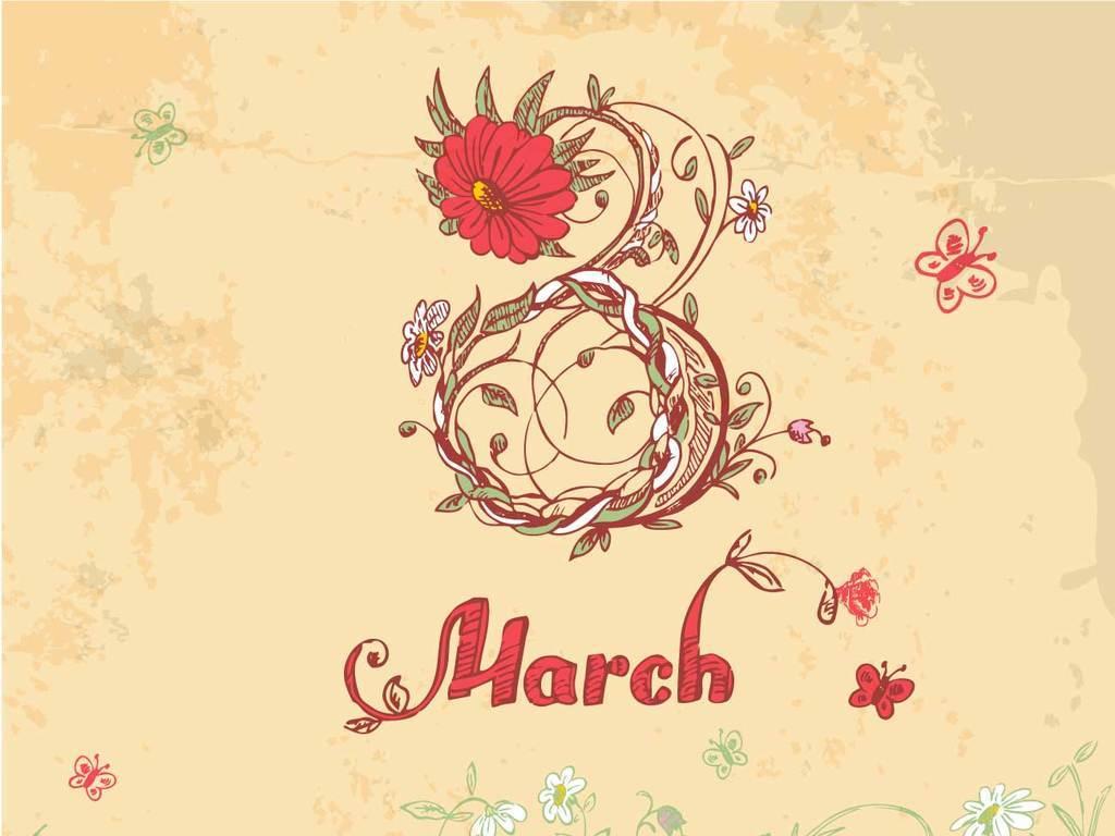 妇女节贺卡母亲节国外创意剪纸艺术字体设计图片