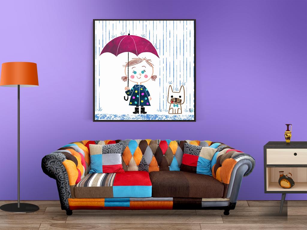 装修水彩可爱可爱卡通雨伞卡通小女孩可爱小女孩小女孩卡通可爱室内图片