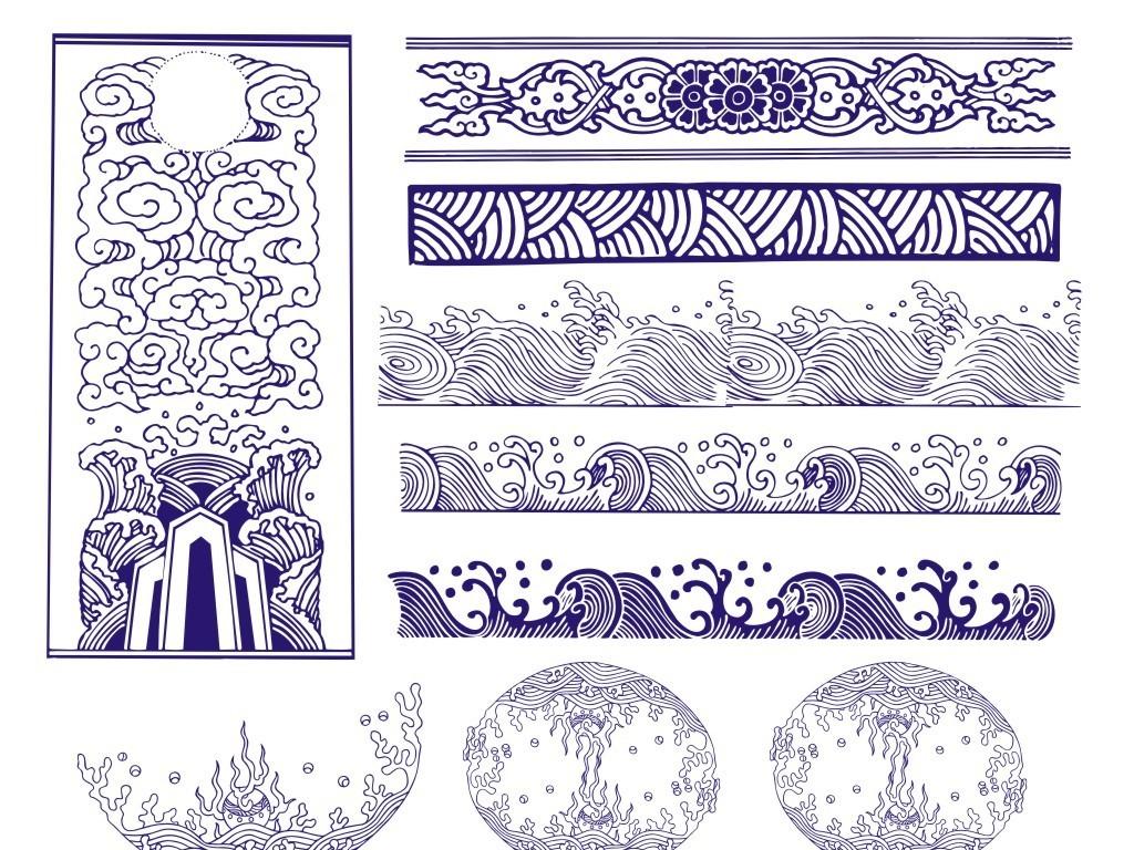 水纹手绘新年画册海报抽象浪花海啸中国风古典素材图形古典素材cdr