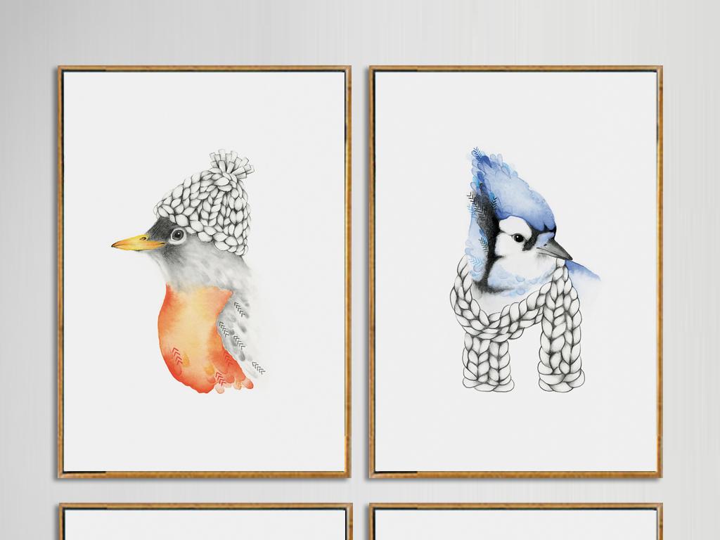 简约动物小清新北欧无框画