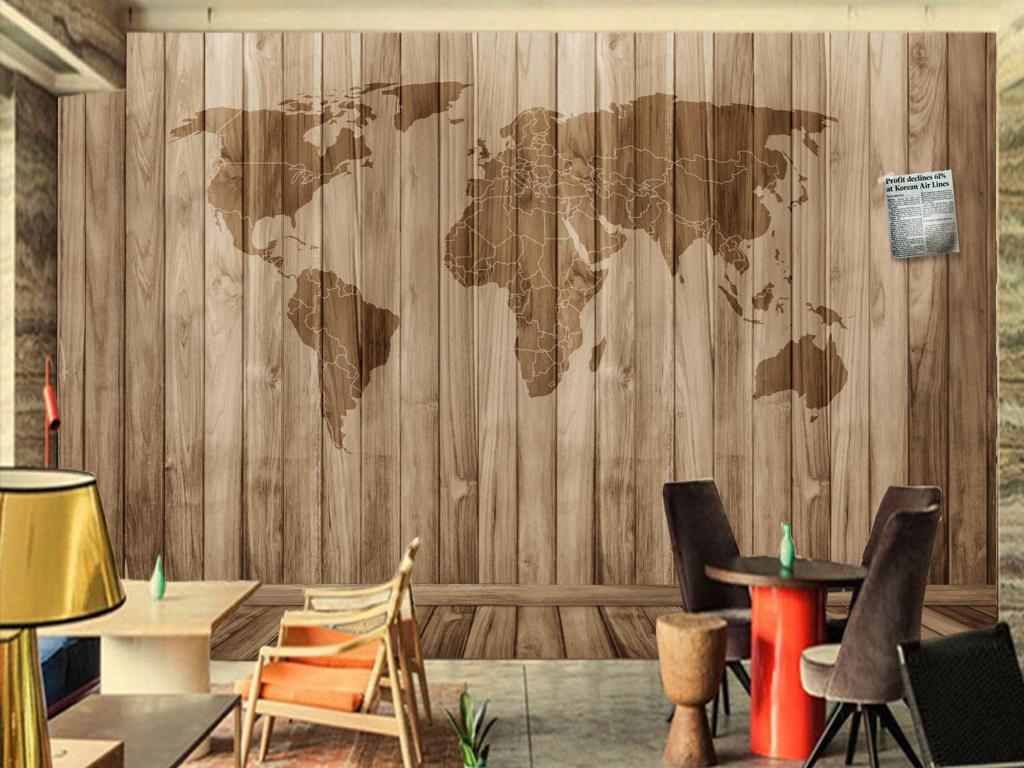 酒吧餐厅复古怀旧木板世界地图主题背景墙