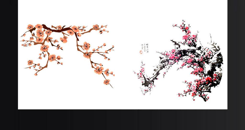 节日装饰png梅花手绘国画