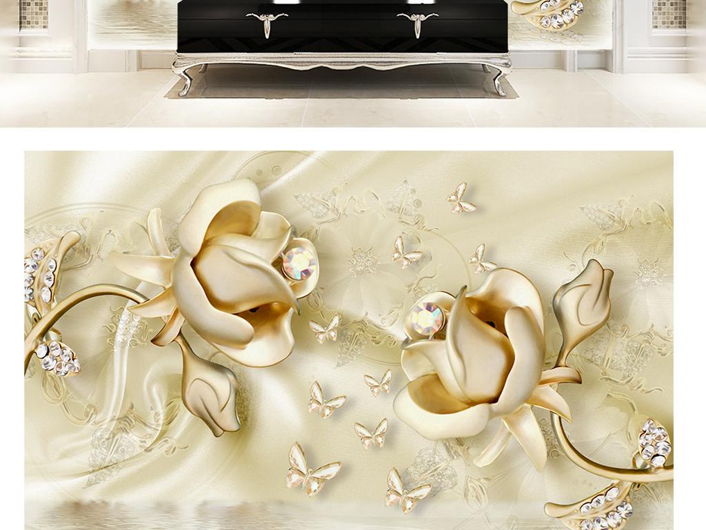 3d欧式高档镶钻叶子金色玫瑰花珠宝背景墙