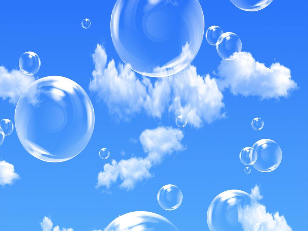 梦幻天空蓝天白云吊顶背景墙素材