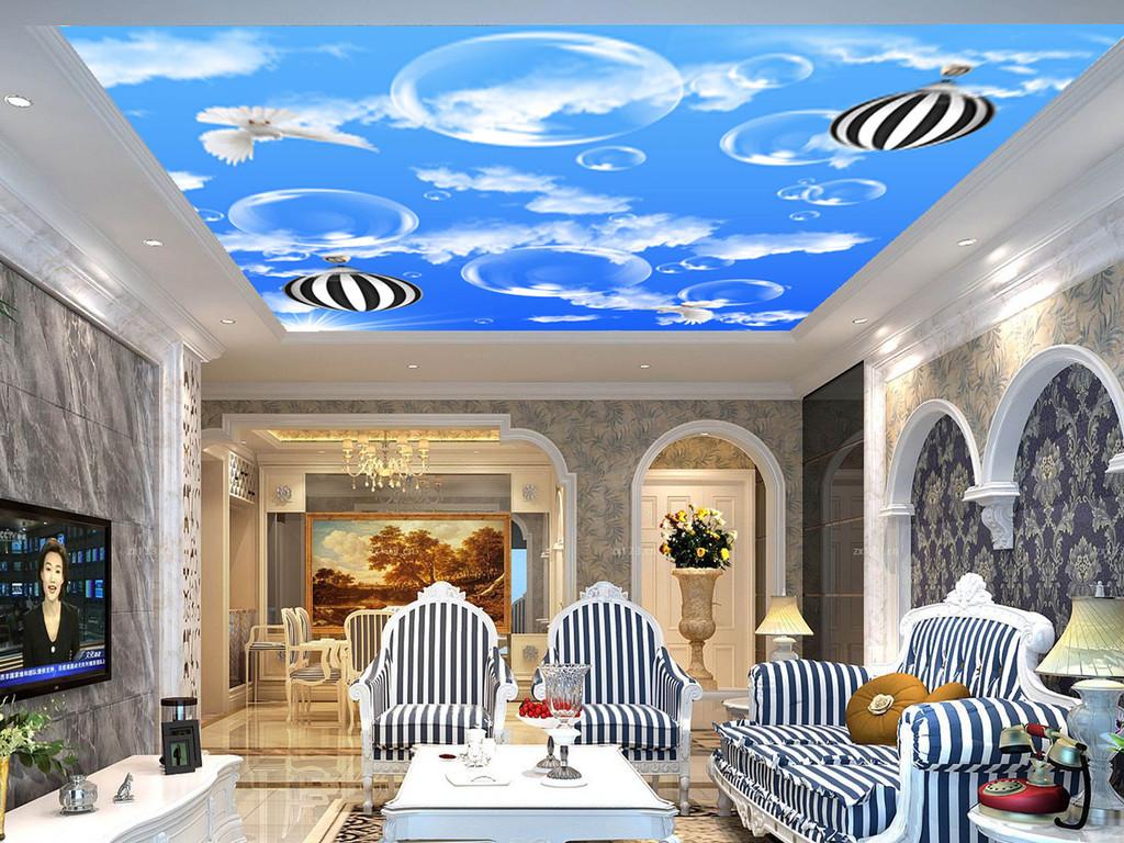 蓝天白云吊顶壁画素材