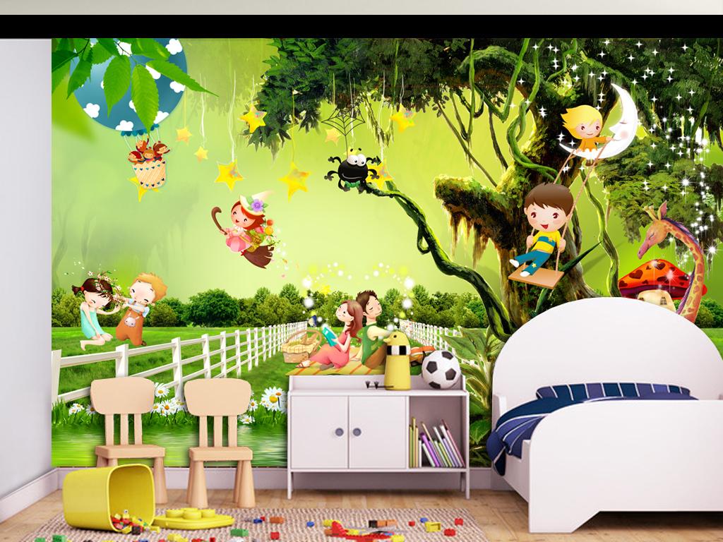 欧式简欧田园风格田园风景沙发背景壁画墙画卡通背景