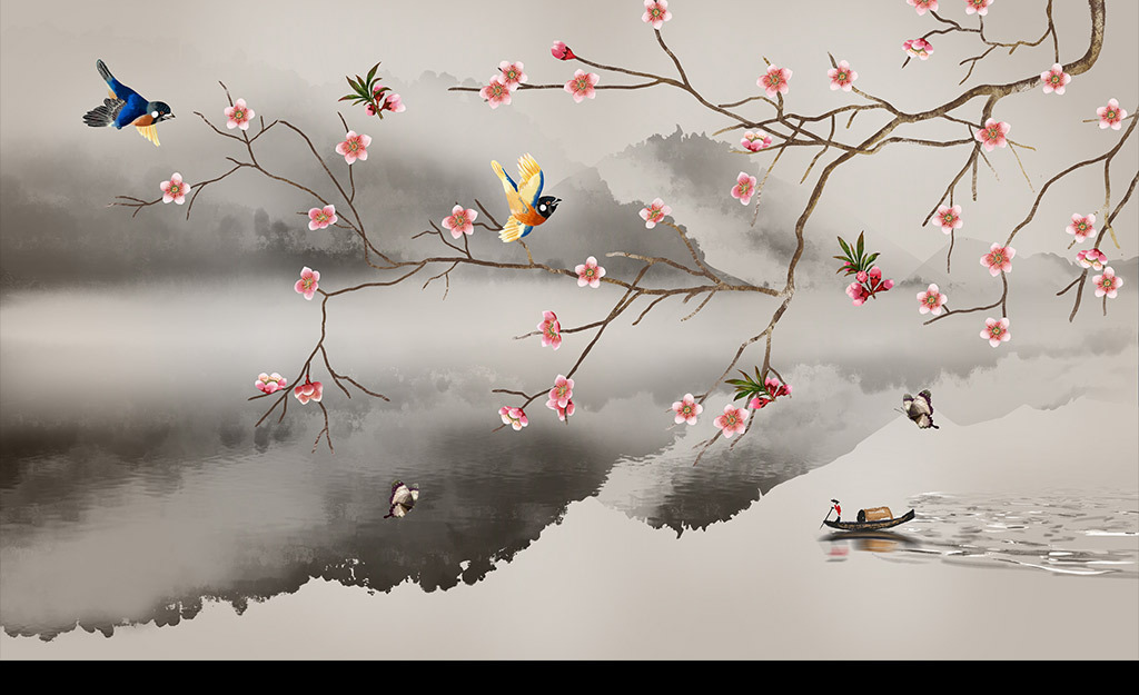 手绘工笔花鸟水墨山水背景墙装饰画