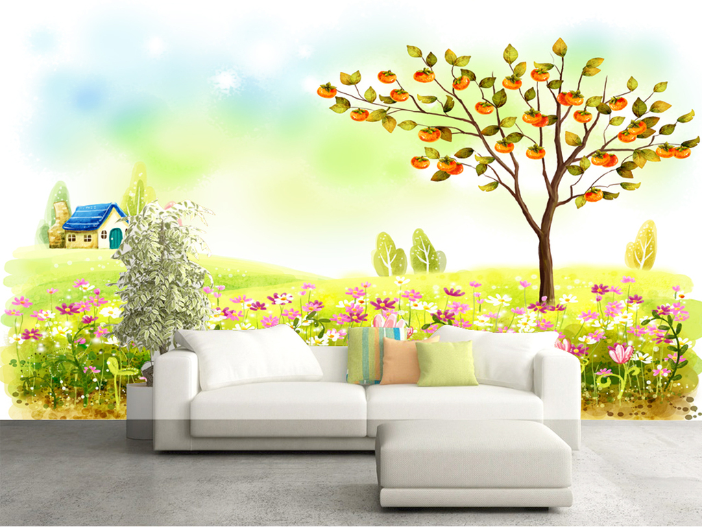 手绘插画儿童房壁画背景墙