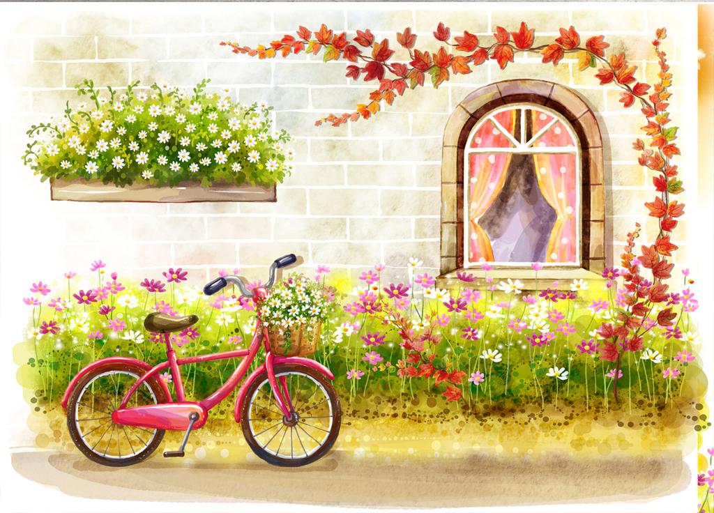 psd)手绘插画儿童房背景墙韩国手绘插画可爱卡通装修背景墙儿童房室内