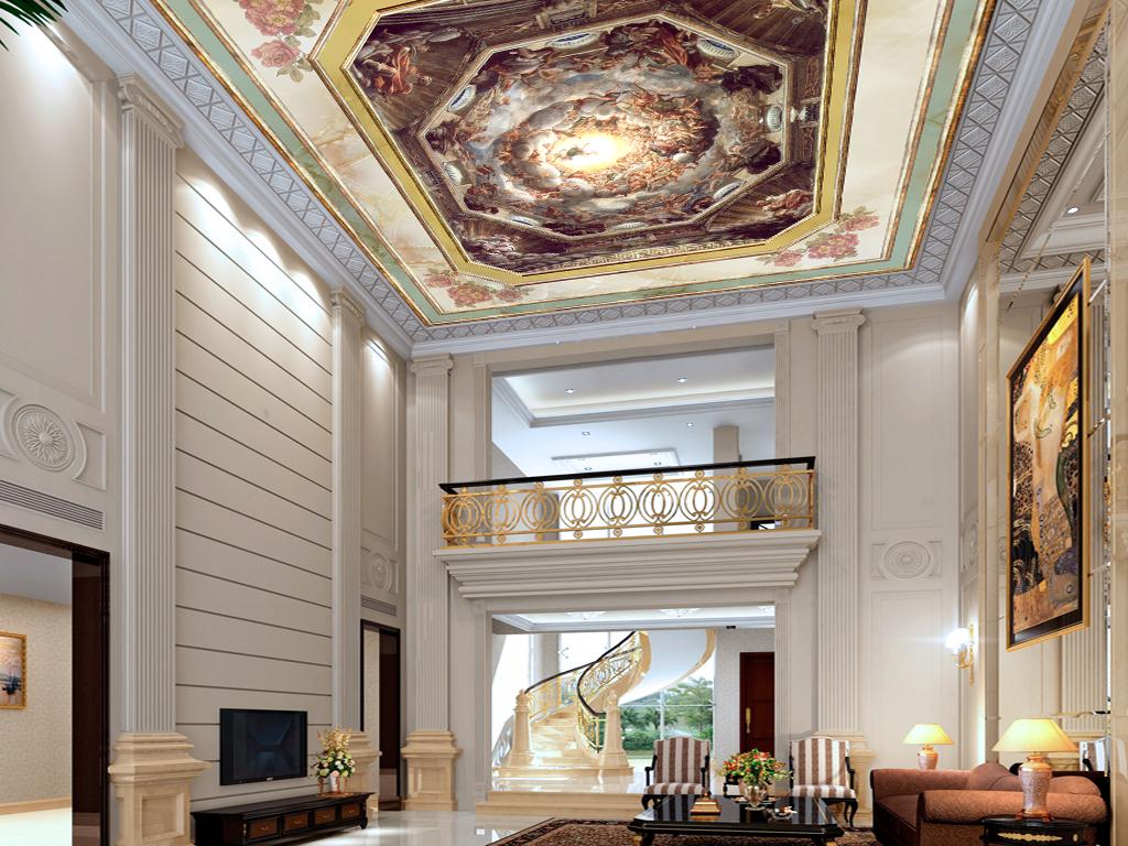 墙纸屋顶画吊顶画天顶壁画西式油画电视背景墙吊顶造型古典欧式天神图片