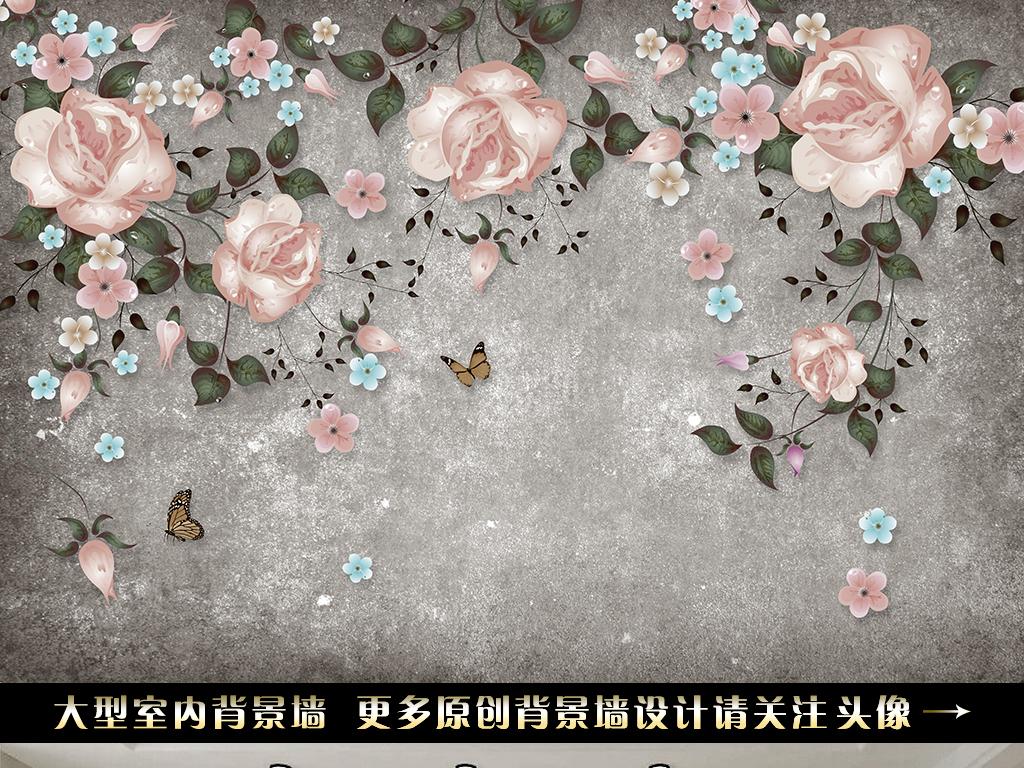 手绘玫瑰花藤电视背景墙(图片编号:16154733)