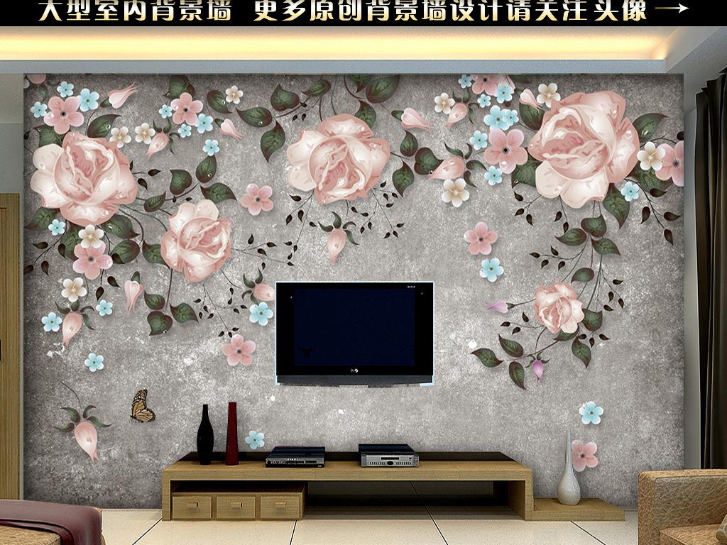 手绘玫瑰花藤电视背景墙