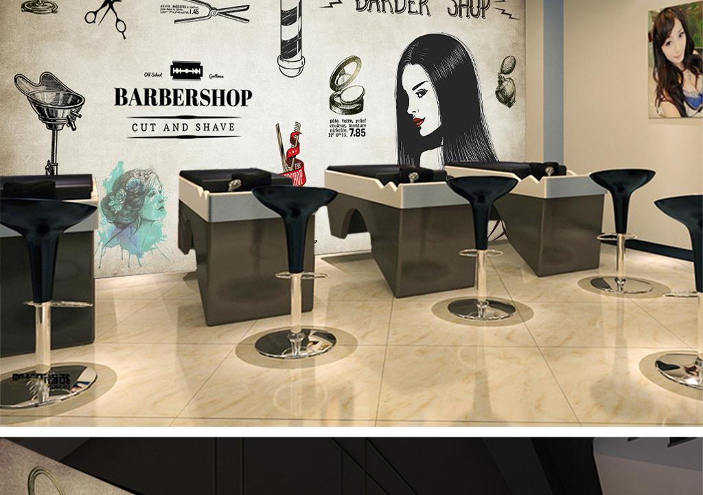 loft工业风砖墙手绘卡通发廊壁纸餐厅咖啡厅美容店酒吧背景墙纸大型壁