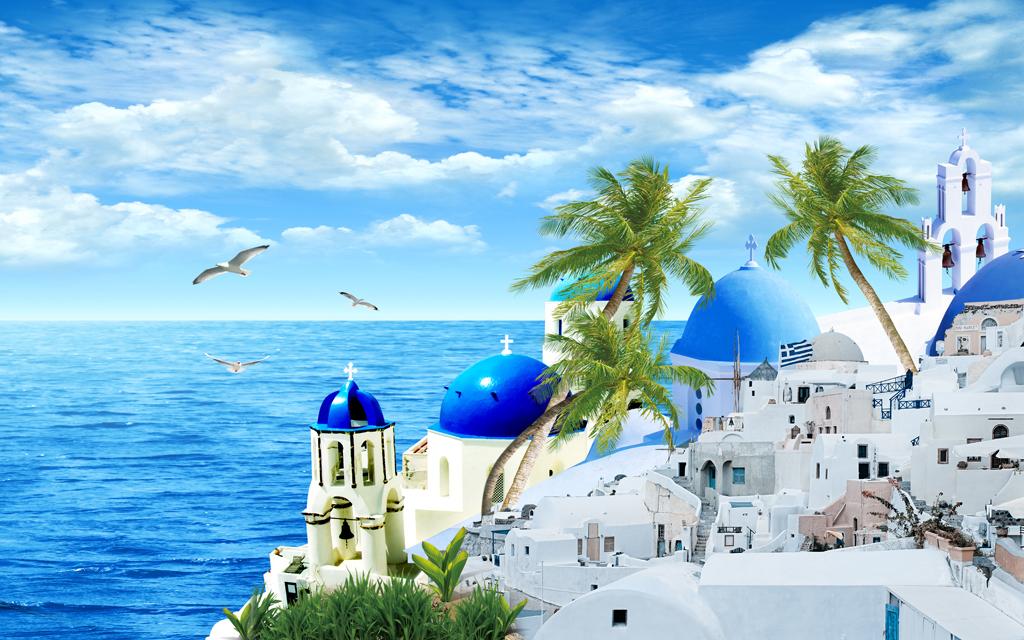 海岛椰林椰树海鸥蓝天白云热带风景度假村个性壁画温馨梦幻时尚清新