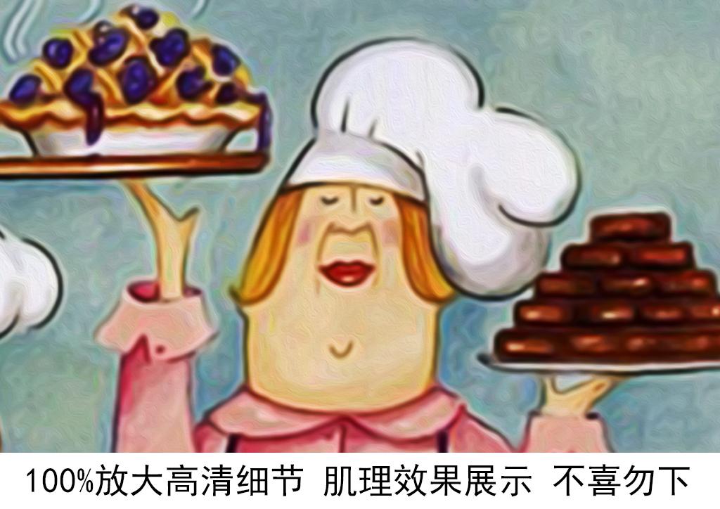 背景墙|装饰画 无框画 卡通动漫无框画 > 手绘卡通甜点师蛋糕餐厅咖啡