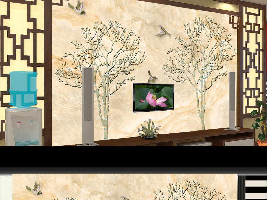手绘工笔花鸟背景墙装饰画大理石纹理中欧式