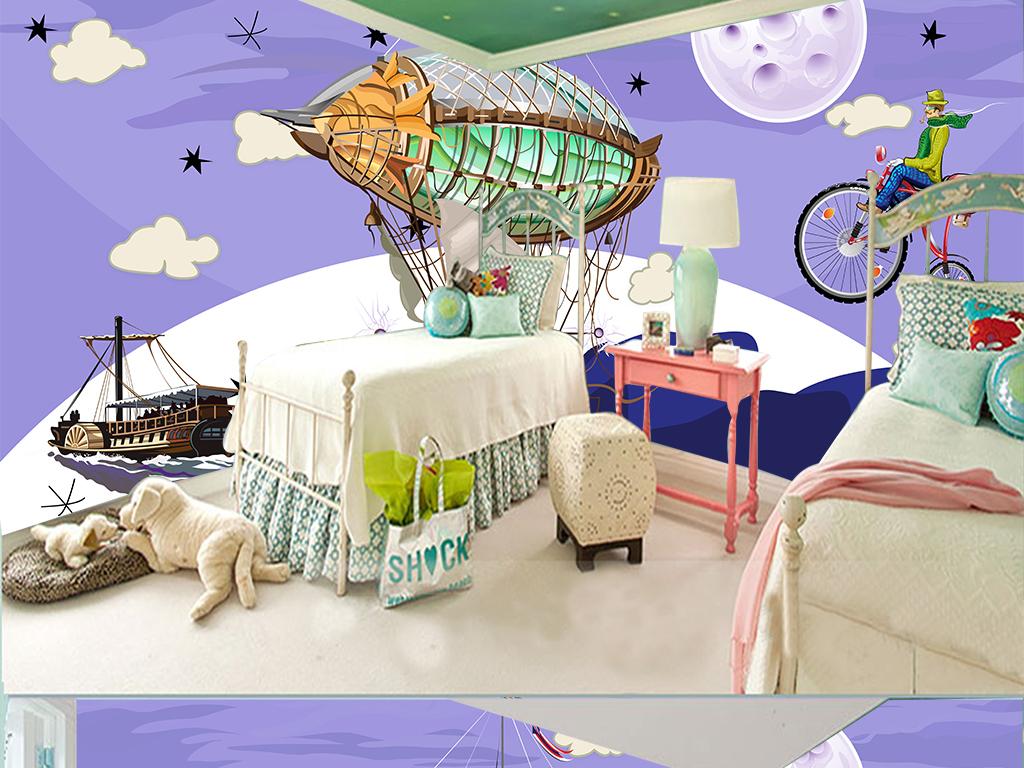 手绘卡通飞艇登月儿童房背景墙