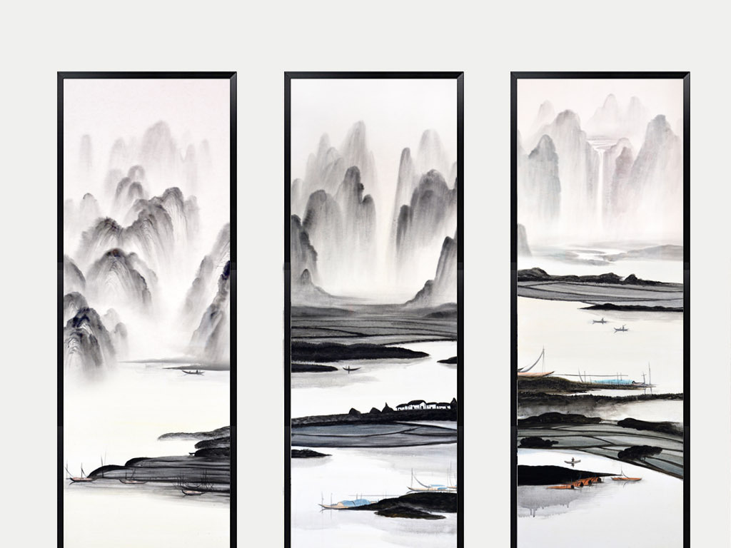 新中式水墨山水艺术组合三联画图片