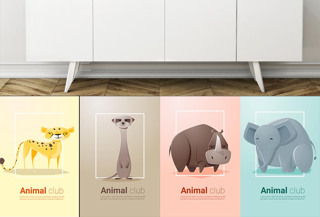 背景墙|装饰画 无框画 卡通动漫无框画 > 萌宠北欧简约儿童房动物园背