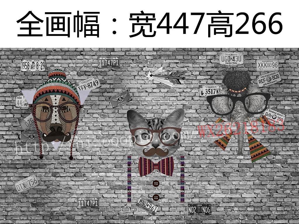 复古背景动物砖墙怀旧复古动物背景复古怀旧个性复古砖墙怀旧背景砖墙