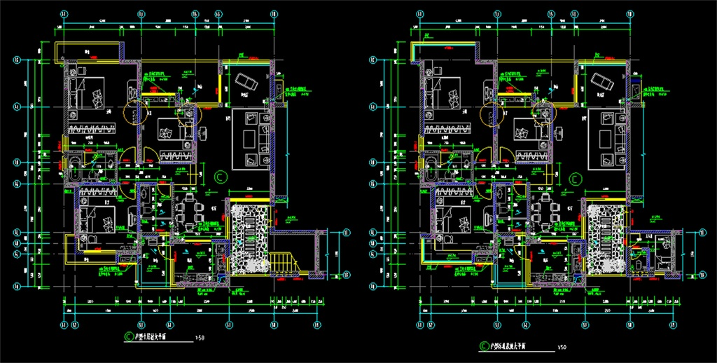 复式住宅cad施工平面图