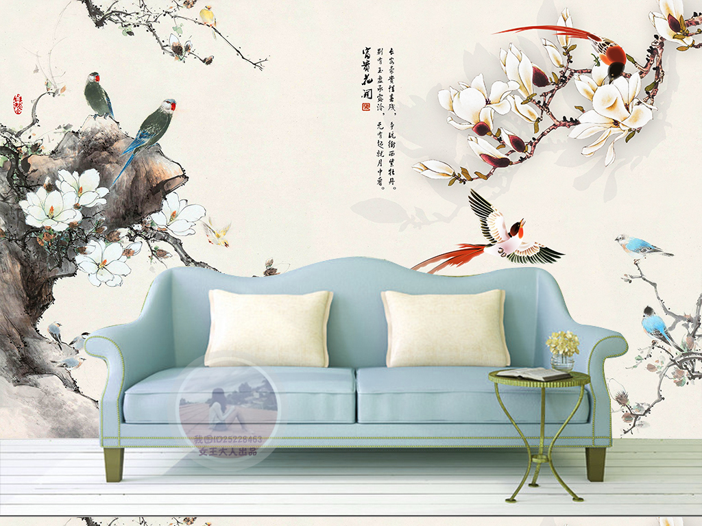 壁纸墙纸简约美式田园欧式背景墙绘画油画酒店怀旧