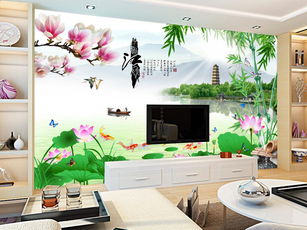 宝塔远景壁画墙纸壁纸瓷砖中式电视背景墙背景墙装饰
