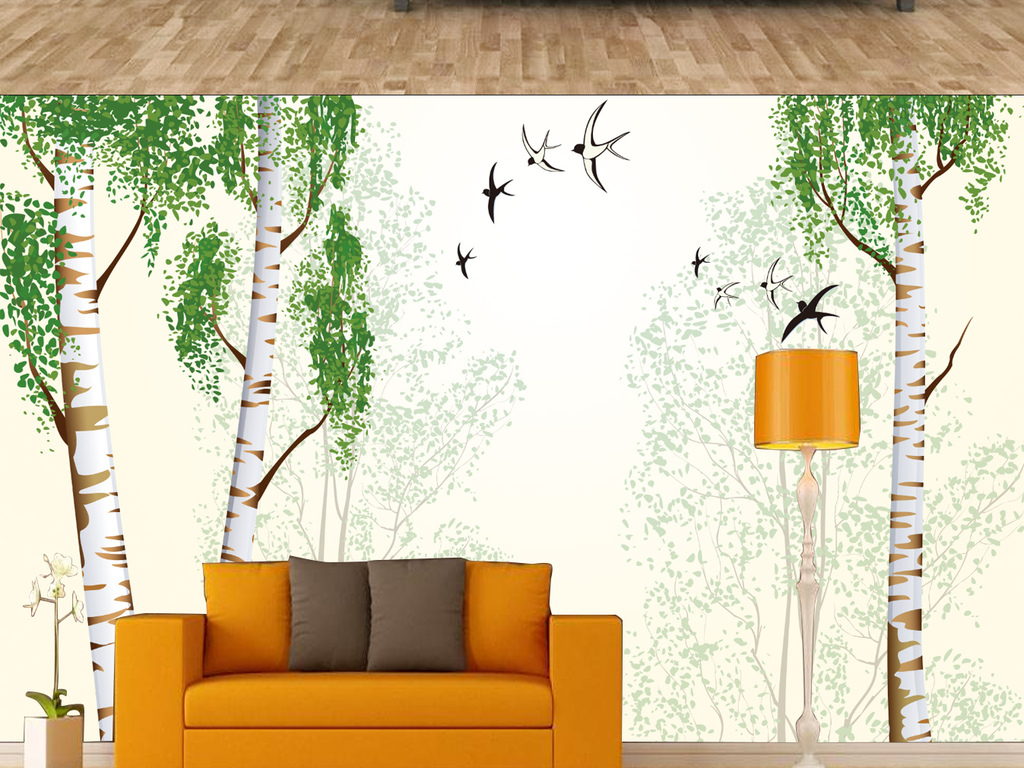 壁画墙纸墙布3d背景白杨树欧式背景北欧风情抽象树林