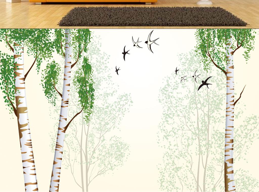 手绘抽象树林背景