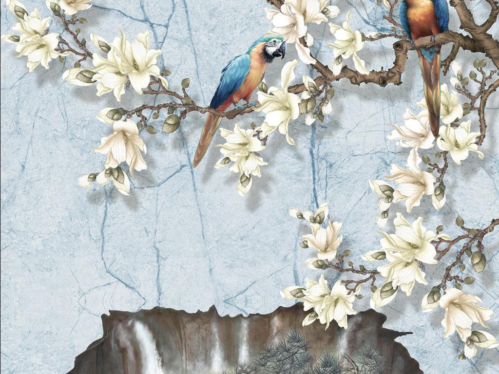 中式手绘花鸟花鸟手绘简约风格简约画现代简约电视背景墙现代简约背景