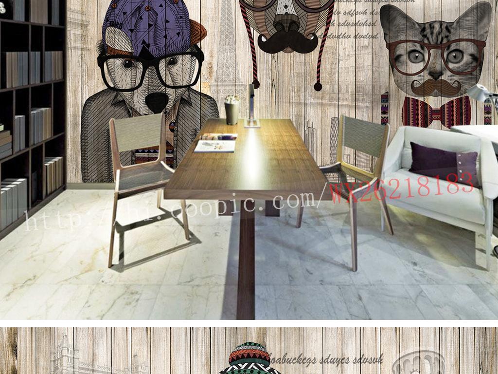 欧式个性动物模特木纹壁画服装店背景墙