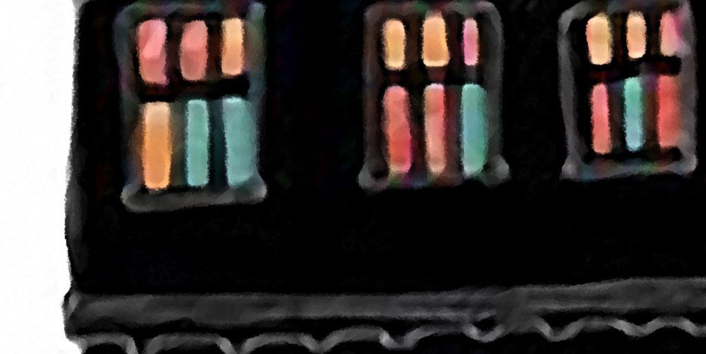房子烟花北欧简约创意小清新手绘高端装饰画
