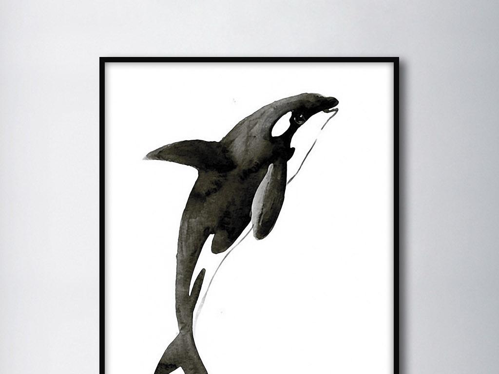 背景墙|装饰画 无框画 动物图案无框画 > 鲸鱼北欧简约手绘现代欧式