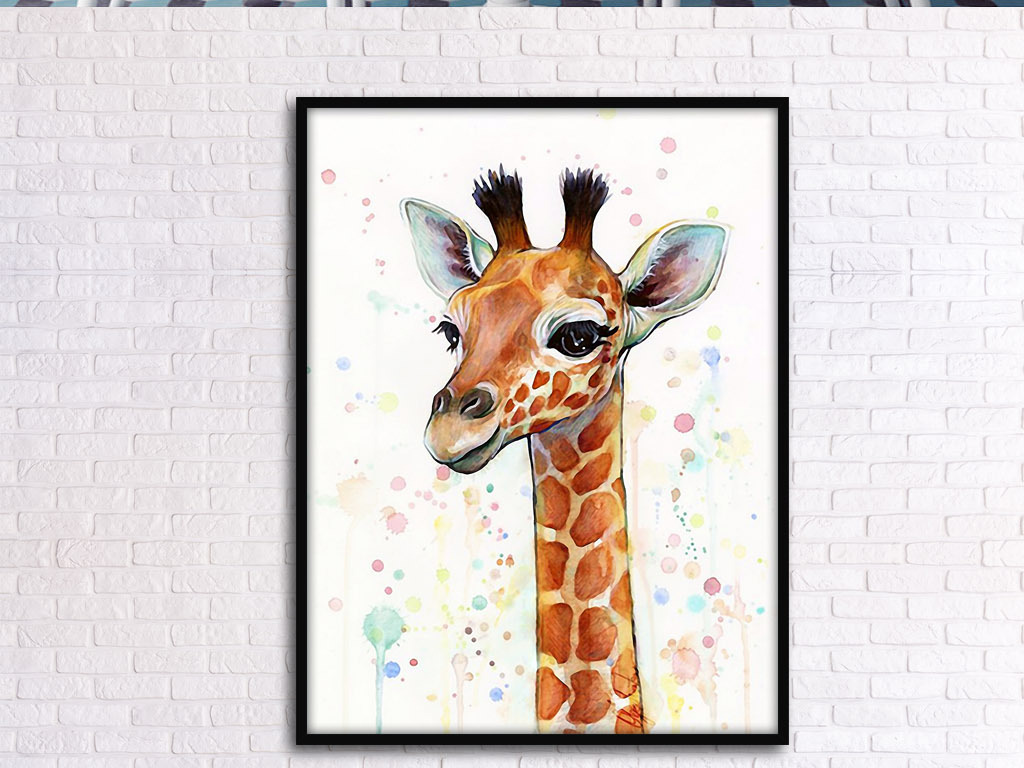 长颈鹿头像北欧简约小清新手绘水彩装饰画
