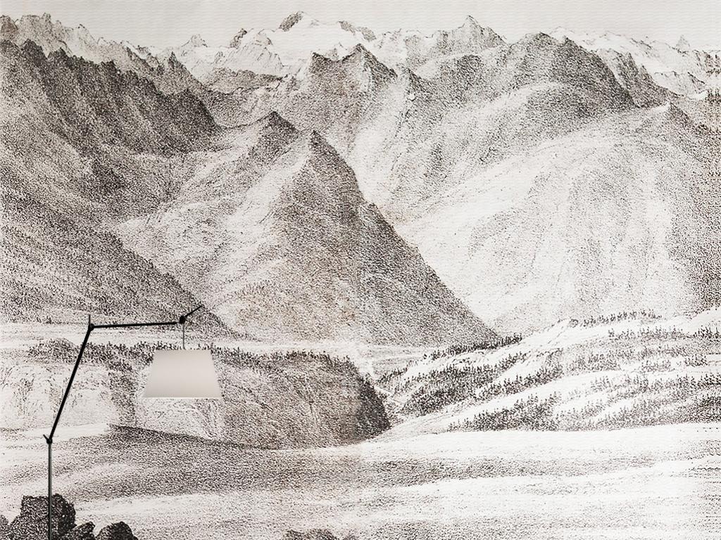 欧式复古手绘速写黑白风景山川壁画背景墙