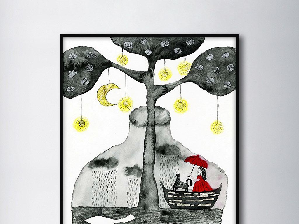 灯笼树下黑白手绘文艺范欧美现代家居装饰画