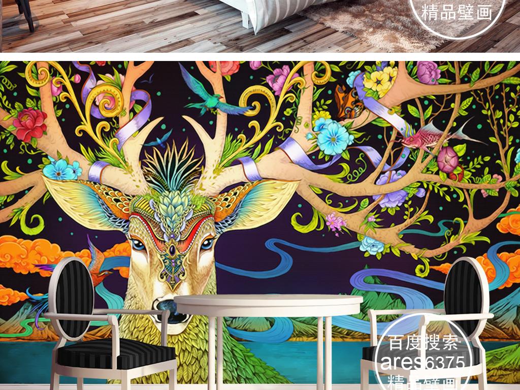 唯美童话浮世绘风格手绘鹿插画壁画背景墙