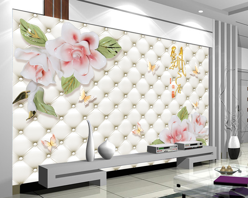 仿软包浮雕花朵飘香电视背景墙壁画