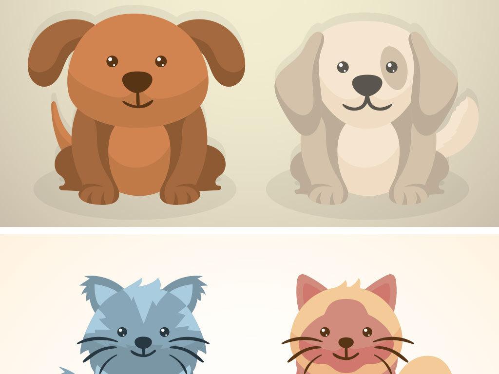 卡通小狗小猫动物设计海报素材