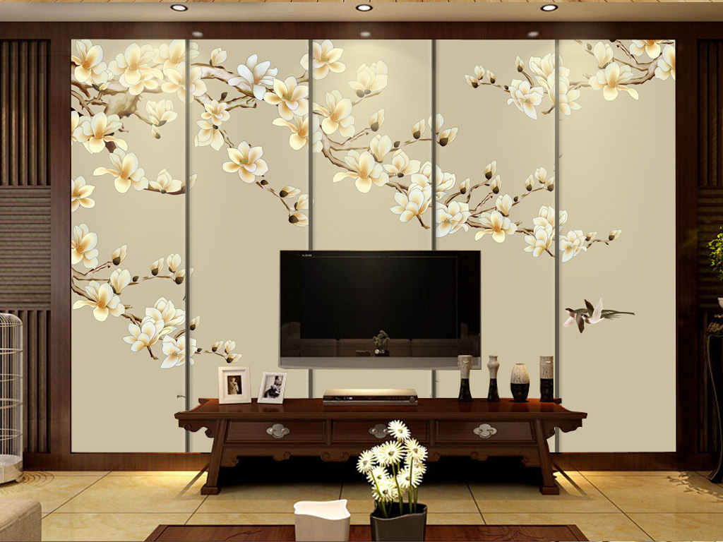 背景墙 装饰画 壁画 手绘壁画 > 新中式工笔花鸟壁画背景软装背景