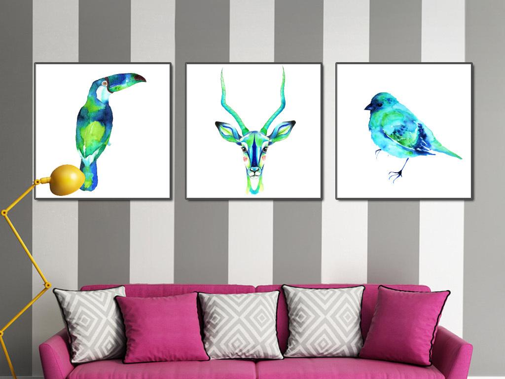 水彩动物现代简约装饰画