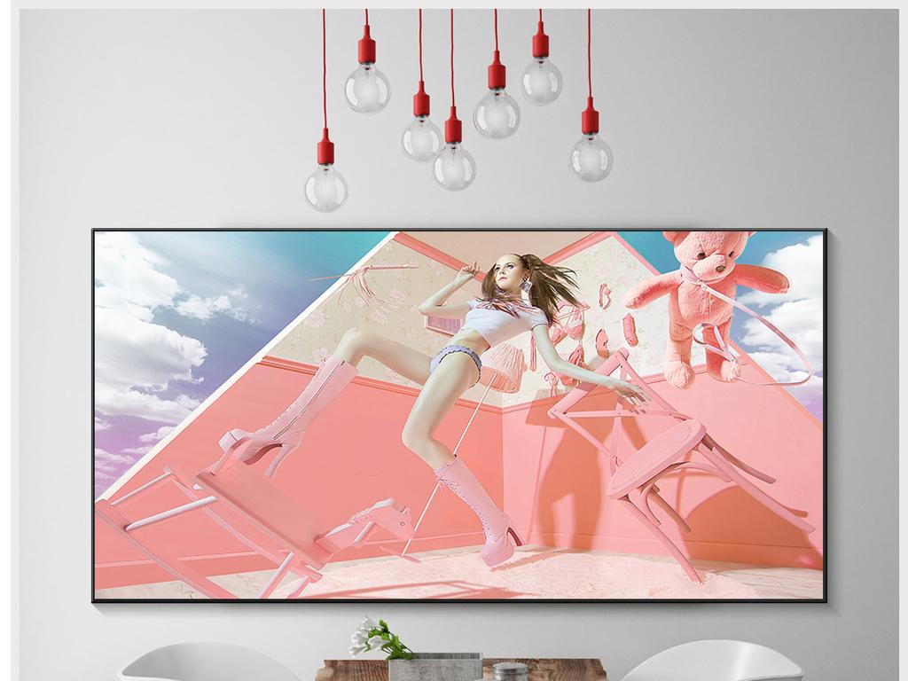 女生房间装饰画欧式装饰画粉色清新背景粉色背景装饰