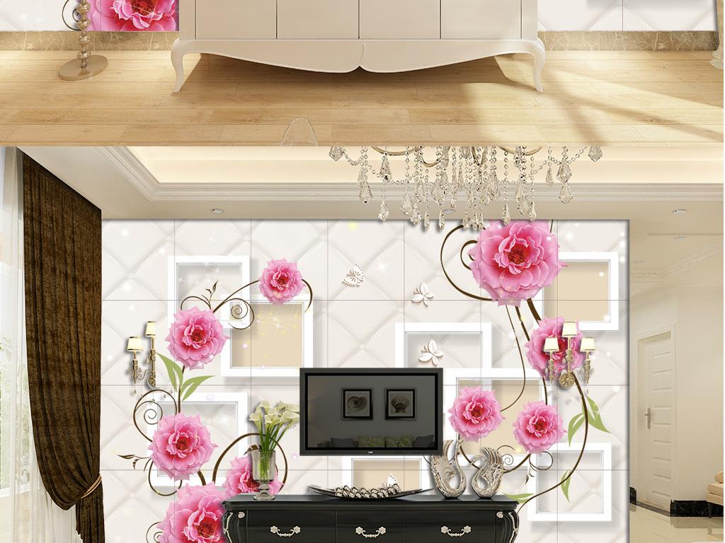 欧式花纹装饰画电视背景墙瓷砖画无框画婚房背景壁纸