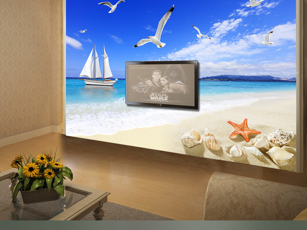 沙滩海景电视背景墙
