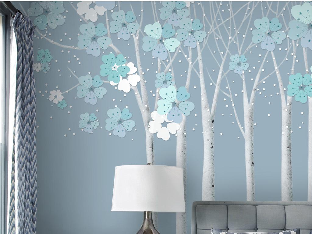 手绘背景墙小清新背景复古欧式欧式抽象抽象樱花中式