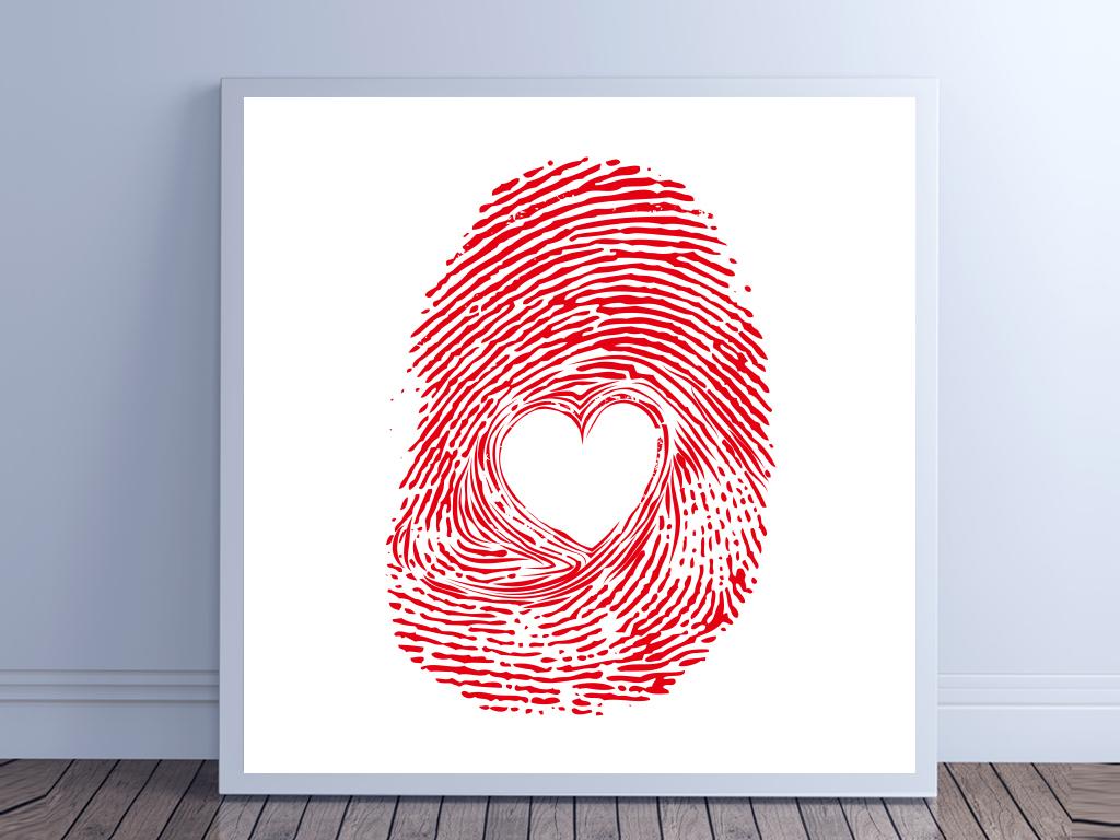 高清创意手绘爱心指纹装饰画无框画 位图, cmyk格式高清大图,使用
