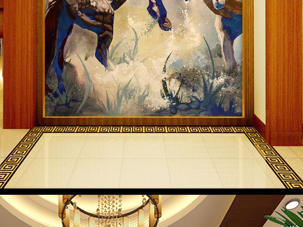北欧欧式手绘油画骏马壁纸玄关