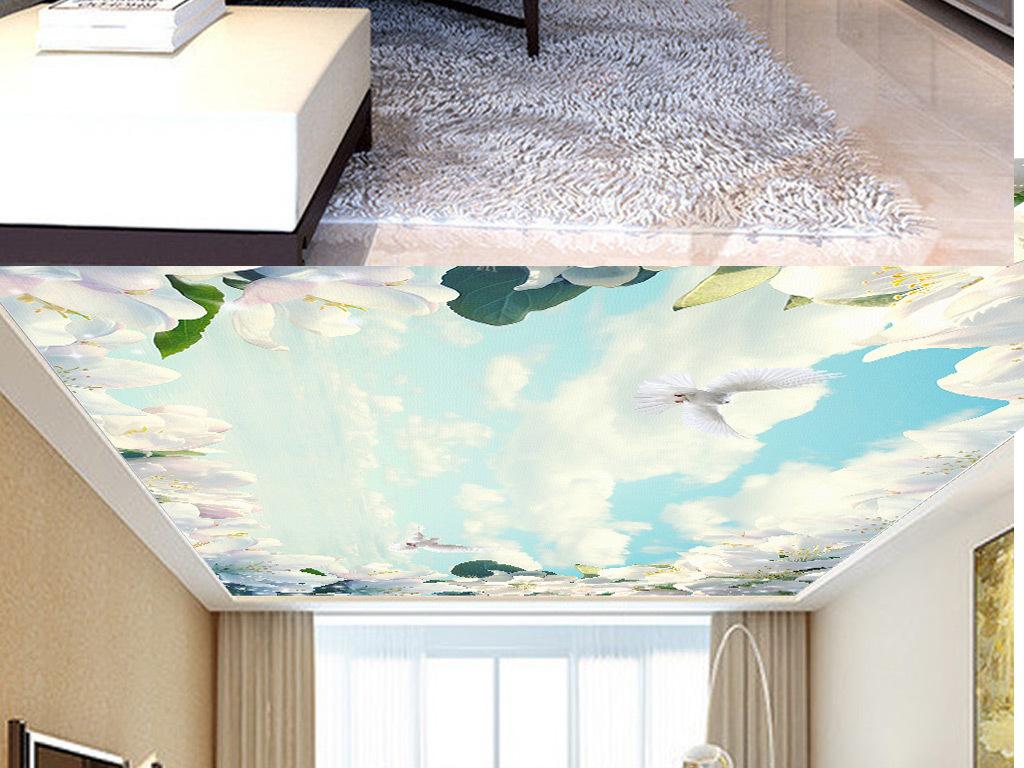 梅花白鸽天顶壁画(图片编号:16157547)_植物花卉吊顶